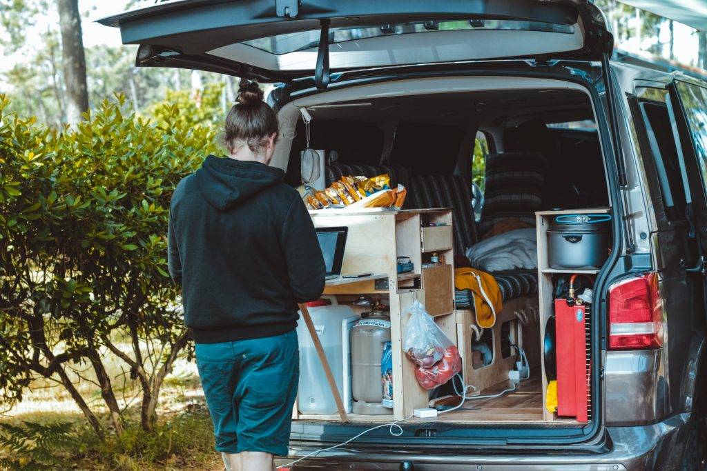 person using camper van unit