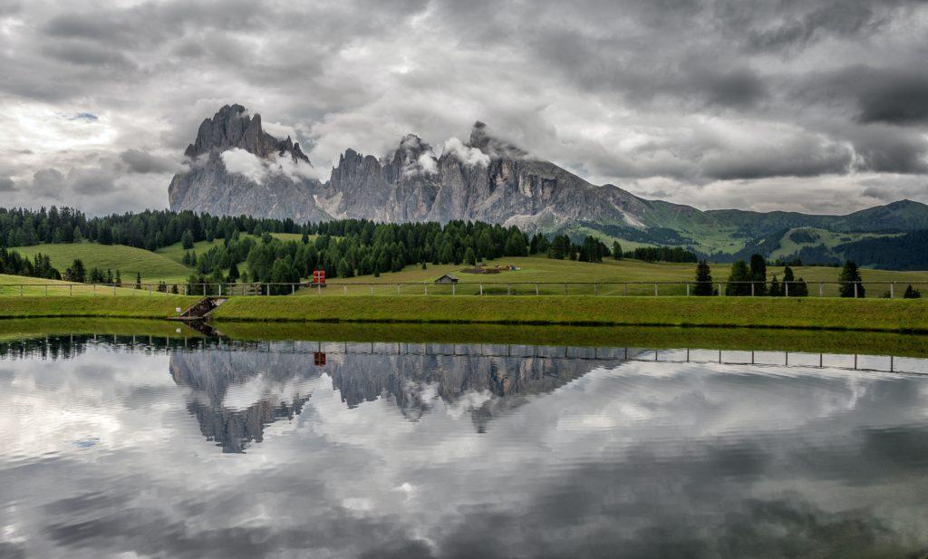 Granite peaks near an enclosed lake