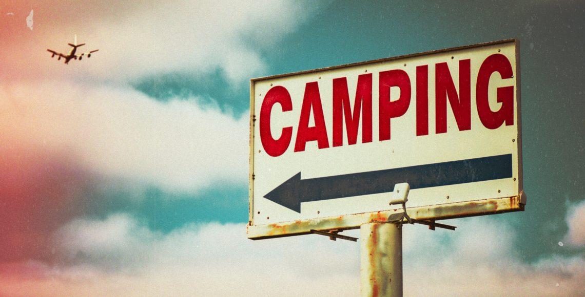 Camping road sign
