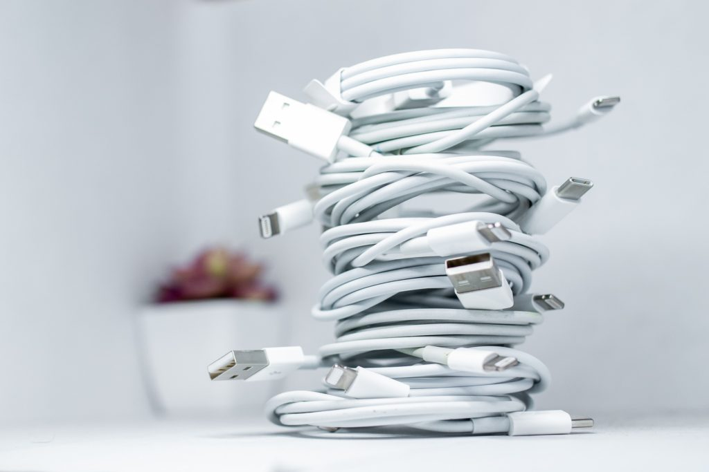 Multiple charging cables stacked on top of each other